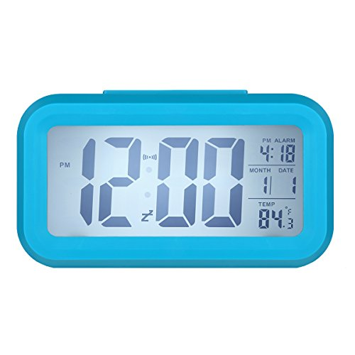 LUOYIMANTM Led Clock Smart Oversized Backlit Digital Alarm Clocks Display Intelligent Alarm Clock Progressive Ringtone with Temperature(Blue) (Cool Alarm Clock For Kids)