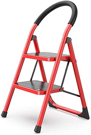 2 Step Ladder Folding Step Stool Stepladders with Anti-Slip and Wide Pedal for Home and Kitchen Use Space Saving (Red)