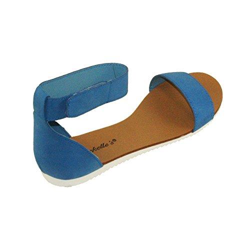 Breckelles Womens Joy-43 Sandali Piatti Regolabili Con Cinturino Alla Caviglia Blu