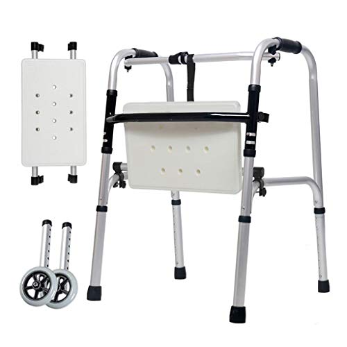 ZHBWJSH Crutches Walker Elderly Disabled Aluminum Double Handrails Walking Wheels Bathing Boards Auxiliary Lower Limbs Four Feet 47cm×52cm×73cm