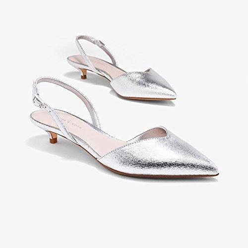 De La V De Zapatos Fiesta Sandalias Palabra Plata Retro Verano Bloque Temporada Mujer Talón Palabra Playa WYYY Zapatos De Hebilla Individuales Zapatos Apuntado Bajo De Casuales Gamuza 5aUWq4nnA
