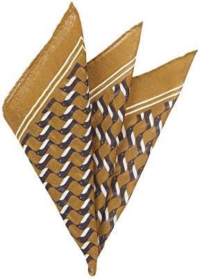 (ザ・スーツカンパニー) MADE IN ITALY/ジオメトリックプリント ウールシルクポケットチーフ イエロー×ネイビー×ホワイト