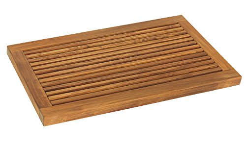 (Bare Decor Dasha Spa Shower or Door Mat, 31.5 by 17.75-Inch, Solid Teak Wood and Oiled Finish)