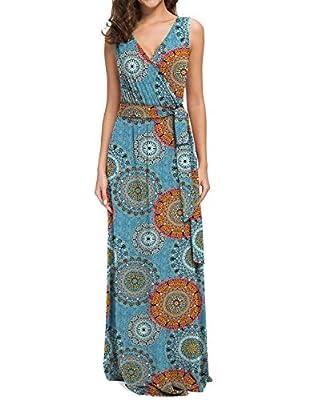 POKWAI Women Sleeveless Maxi Dress Casual Long Dresses Beach Dresses Bohemian Printed Dresses
