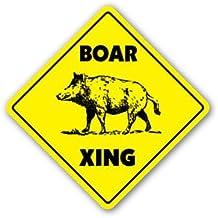 BOAR CROSSING Sticker xing gift novelty pig hog wild hunter hunt tusk trap kill