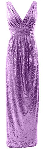 MACloth Gorgeous Long Bridesmaid Dress V Neck Sequin Wedding Party Formal Gown Lavendel gcDSm