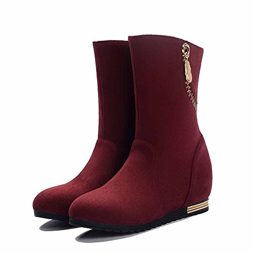 Imitated Suede Pull on Allhqfashion Closed Round Solid Heels Women's Low Toe Boots Claret c8Uz0