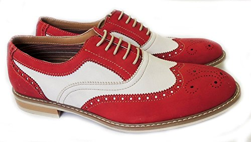 Ferro Aldo Mens Causal Wingtip Oxfords Modern Spectator Style (9, Red)