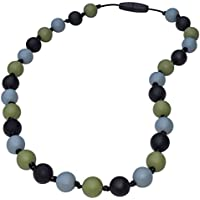 Sensory Oral Motor Aide Chewelry Necklace - Chewy Jewelry for Sensory-Focused Kids with Autism or Special Needs - Calms Kids and Reduces Biting/Chewing/Fidgeting – Camo (Black/Grey/Green)