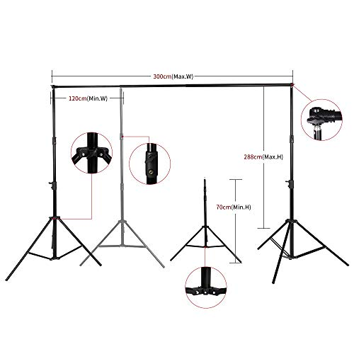 Telescopic Tube Background Support Pole Stand, 9 x 10FT Heavy Duty Background Stand Backdrop Support System Kit Carry Bag Photography Photo Video Studio by SH (Image #4)