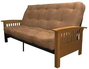 Epic Furnishings Morris Mission-Style Microfiber Suede Futon Sofa Sleeper Bed, Medium Oak Frame, Full, Mocha Brown