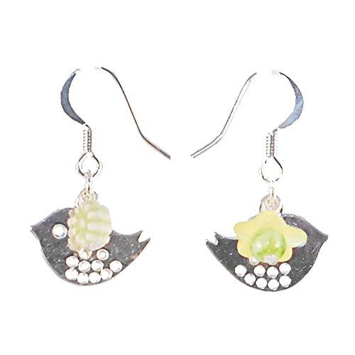 Créative Perles - Boucles d'oreilles Enfant oiseau argenté et Fleur vert - Vert