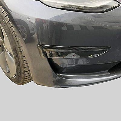 Justautotrim Carbon Fiber Style Interior Exterior Cover Trims Accessories for Tesla Model 3 2020 2020 2020 (Front Bumper Fog Eyebrow): Automotive