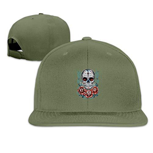 - Mcdorty Rose Roses Skull Caravela Tattoo Unisex Plain Cool Adjustable Denim Baseball Cap Fashion Hat