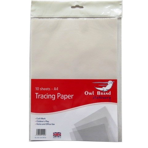 A4 Tracing / Transfer Paper - Pack of 10 - Size 297mm x 210mm Owl