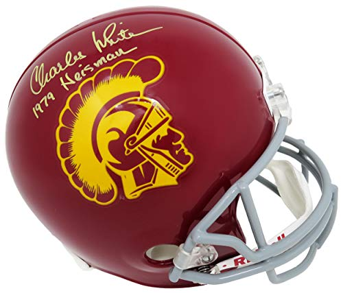 (Charles White Signed USC Trojans Riddell Full Size Replica Helmet w/ 1979 Heisman - Autographed College Helmets)