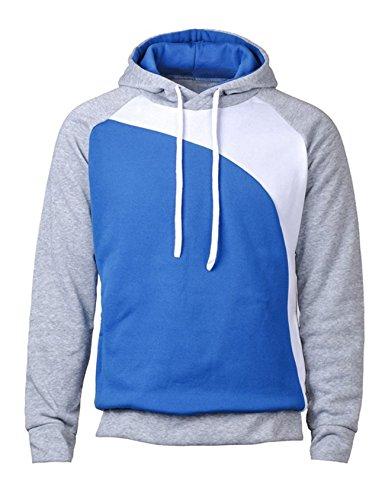 Bestgift Herren T-Shirt Hoody Pullover Multi-Taste Hoodie Shirt Knopfleiste T-Shirt Hellgrau+Weiß+Königlich Blau M