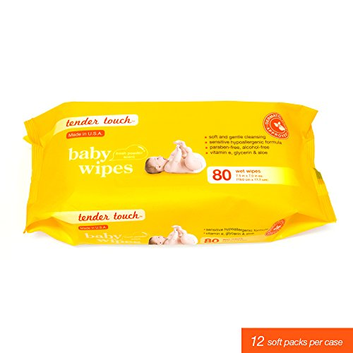Dermatologist Tested Tender Touch Hypoallergenic Baby Wipes, 80 Count Pack