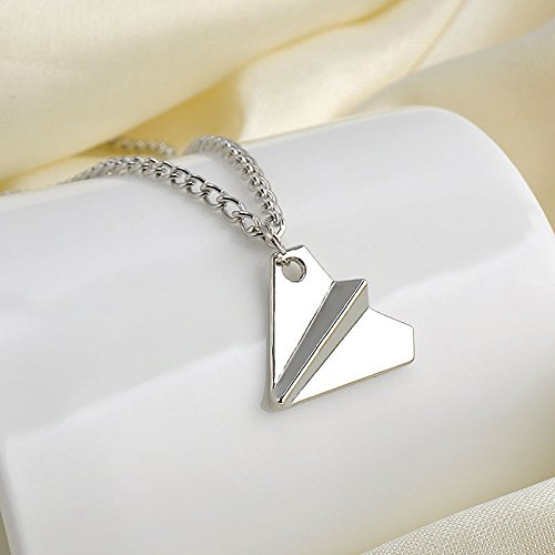 Unisex Men Women One Direction 1D Harry Styles Paper Airplane Silver Necklace