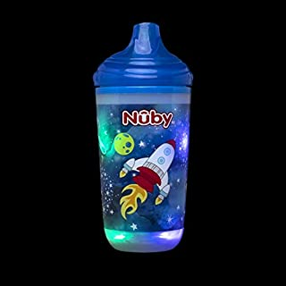 Nuby Insulated Light-Up Cup with No Spill Bite Resistant Hard Spout, 10 Oz, Blue Space
