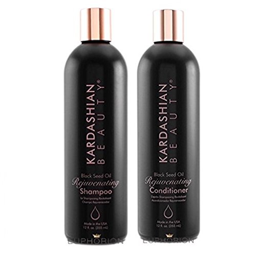 Kardashian Beauty Black Seed Oil Shampoo & Conditioner 12oz Luxury Hiar Rejuvenation Kit by Kardashian