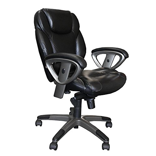 Mid-Back Leather Ergonomic Computer Chair Black Dimensions: 24.5-26.5