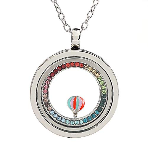 AZNECK Women Glass Locket Pendant Floating Memory Necklace Hot Air Balloon Trip Stainless Steel Jewelry Graduation Gifts for her