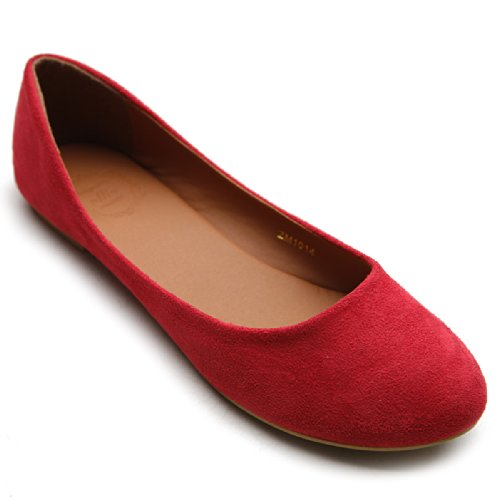 - Ollio Womens Shoe Ballet Light Faux Suede Low Heels Flat ZM1014(7 B(M) US, Red)