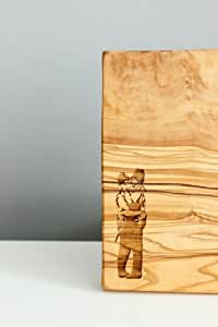"""Banksy Engraved """"Kissing Cops"""" Olive Wood Chopping / Serving / Cheese Board - 20x15x2cm"""