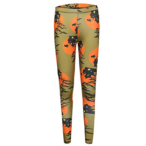 Women's Pants, FORUU Mid Waist Halloween Pumpkin Print Trousers Ladies Casual