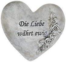 Herz mit Spruch Die Liebe w/ährt ewig Grabschmuck Trauerschmuck Grabfigur Trauerfigur Gedenkstein wetterfest