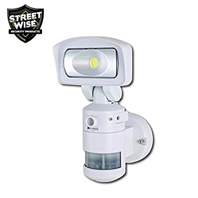 Streetwise Security NightWatcher Robotic LED Security Movement Tracking Light and HD Security Camera in White