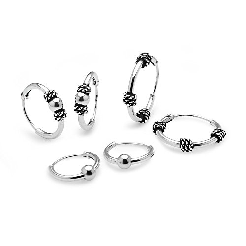 Sterling Silver 10mm, 12mm & 14mm Polished Bead, Bali & Bali Bead Endless Hoop Earrings, Set of - Bali Hoop Endless Earrings
