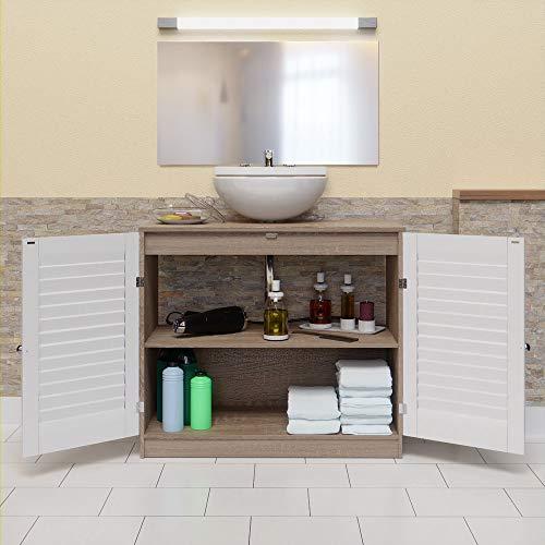 DEUBA® Mueble bajo para lavabo | elegante | Listones en las puertas | Apto para todos los lavabos | Con hueco para el sifón: Amazon.es: Hogar