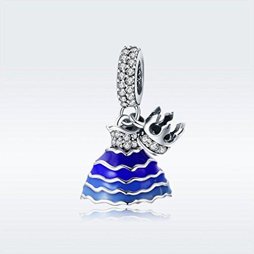 BAMOER 925 Sterling Silver Dream of Princess Love CZ Bead Charm for DIY Snake Chain Bracelet by BAMOER (Image #1)