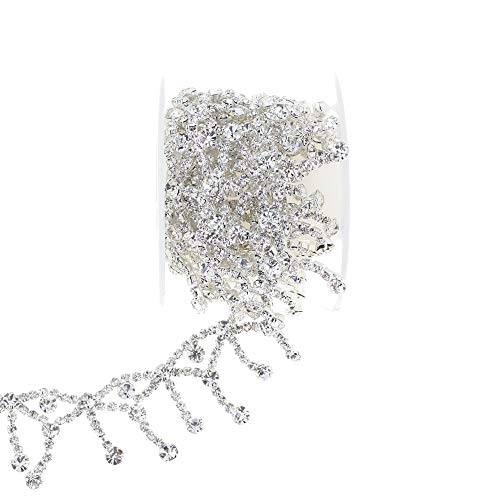 L-Queen 1 Yard Rhinestone Trim Handmade Clear Beaded Rhinestone Fringe Trim Wedding Applique Crystal Rhinestone Chain Trim for Sewing DIY Decorations Party Dress (Pearl-8)