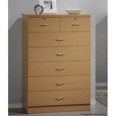 Hodedah 7 Drawer Chest, Five Large Drawers, Two Smaller Drawers with Two Locks, Black by HODEDAH IMPORT