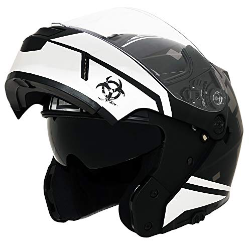 Traiangle Motorcycle Helmets Modular Dual Visor Flip Up (Medium, Matte Black/White)