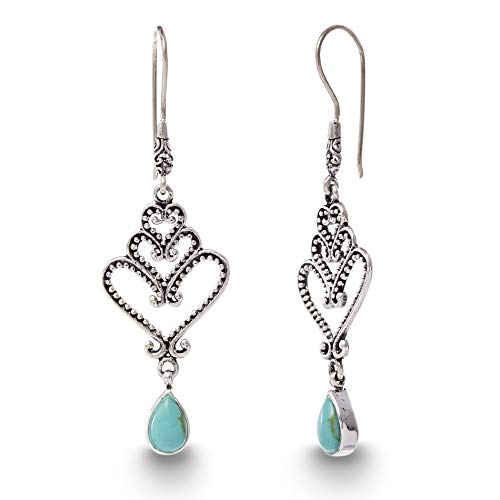 WILLOWBIRD Simulated Turquoise Stacked Hearts Teardrop Dangle French Wire Earrings for Women In Oxidized 925 Sterling Silver