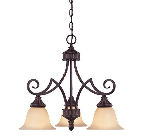 (Savoy House 1P-5589-3-16 Chandelier with Amber Glass Shades, Antique Copper Finish by Savoy House)