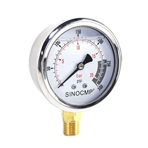 SINOCMP Hydraulic Pressure Gauge 2Mpa/0-20Bar/0-300PSI Economical Multi Purpose Double Scale Stainless Steel Glycerin Filled Gauge from SINOCMP