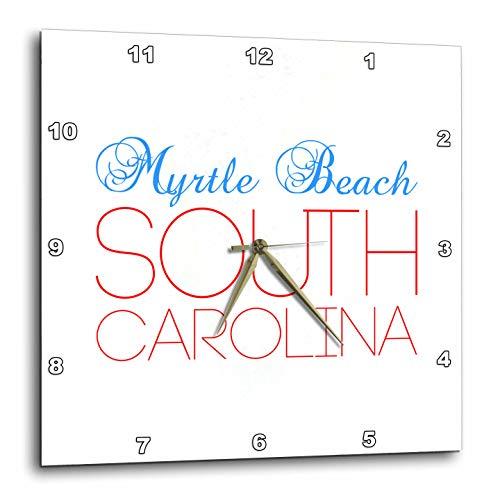 - 3dRose Alexis Design - American Cities South Carolina - Myrtle Beach South Carolina Blue, red Text. Patriot Home Town Design - 15x15 Wall Clock (DPP_303169_3)