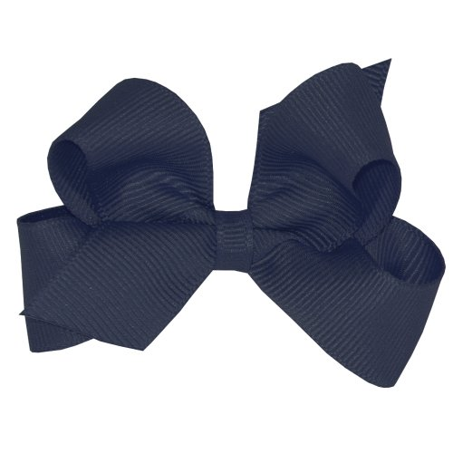 Center Navy (Wee Ones Baby Girls' Mini Classic Grosgrain Hair Bow on a WeeStay Clip w/Plain Wrap Center - Navy,One Size)