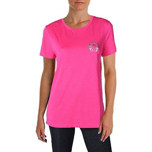 Juicy Couture Women T-shirts - Juicy Couture Black Label Womens Crewneck Logo T-Shirt Pink M