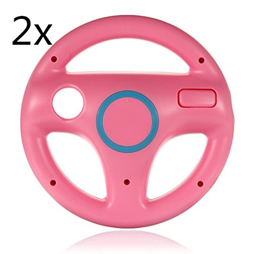 Aniann 2 Pack Pink Steering Mario Kart Racing Wheel for N...