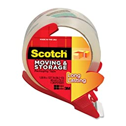 Scotch Long Lasting Moving & Storage Packaging Tape with Refillable Dispenser, 1.88 in x 38.2 yd (3650S-RD)