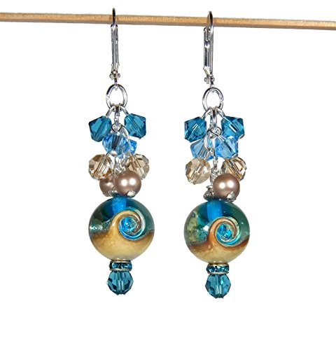 Wave Lampwork Bead (Ocean Wave Lampwork Glass Earrings)