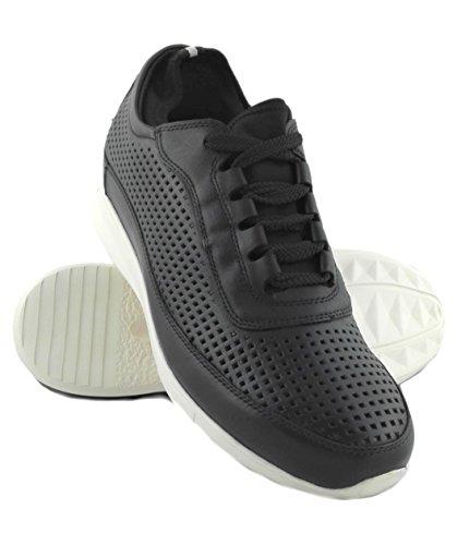 Zerimar Scarpe Sportive con Aumentato Interno di 6 cm Realizzata in Pelle di Alta Qualità 100% Pelle Colore Nero Taille 41