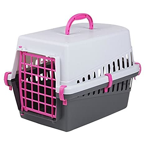Pet Cat Dog Puppy Carrier Basket Cage Portable Travel Kennel Box with Door Black & Grey (Pink) EGT