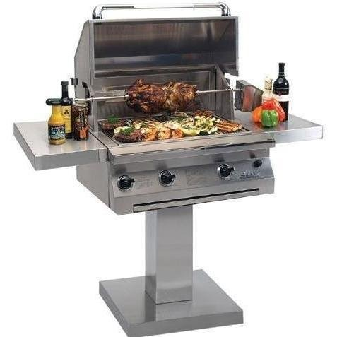Solaire 30 Inch Infravection Natural Gas Grill With Rotisserie On Bolt Down Post - Sol-agbq-30vi-bdp-ng